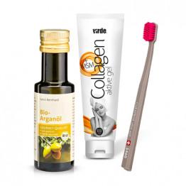 Komplet Kleopatra: Zobna ščetka + Arganovo olje + Gel kolagen z MSM